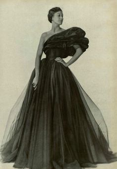 Evening gown by Marcelle Chaumont, 1948.
