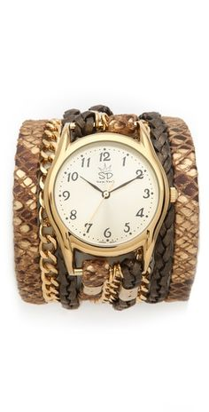 Sara Designs Print Leather & Chain Wrap Watch | SHOPBOP