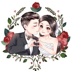 Custom anime portrait chibi portrait cartoon portrait caricatures illustrations from photo Cute personalized gift for family/friends. Wedding Logos, Wedding Art, Wedding Images, Wedding Couples, Wedding Stationery, Wedding Couple Cartoon, Love Cartoon Couple, Wedding Illustration, Couple Illustration