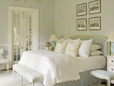 Love the mirrors on french doors in this room. House of Turquoise, Phoebe Howard Pretty Bedroom, Dream Bedroom, Home Bedroom, Bedroom Decor, Serene Bedroom, Bedroom Colors, Design Bedroom, Airy Bedroom, Bedroom Ideas
