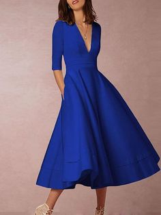 Necklines For Dresses, Types Of Dresses, Plus Size Dresses, Types Of Skirts, Mono Floral, Womens Swing Dress, Oversize Look, Robe Swing, Robes Vintage
