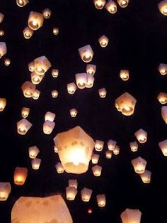 Japanese Fire Lanterns. A cool idea for lighting and a fun time for all the guests to send off!