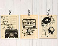 80er Jahre Musik Kunst Druck Retro Boombox Poster Kassette Klebeband Wand Dekor Plattenspieler Kunstdruck DJ Musik Geschenk Dance Musik Dekor Wörterbuch drucken