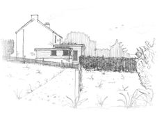 Perspective sketch of extension onto Cornish home. By Roderick James Architects.