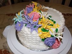 Basket cake with royal icing flowers
