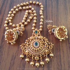 Matt+Finish+Antique+Short+Necklace+From+Kruthika+Jewellery