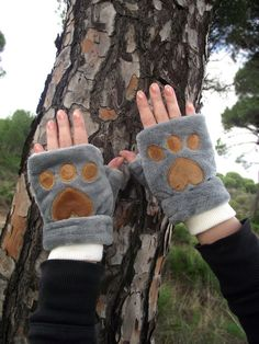 Bear Cat Fluffy Fingerless Gloves Velvet Mittens Hand Warmers Warm and Cozy Wrist Warmers Animal Arm Warmers Plush Mittens