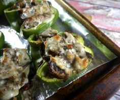 Paleo Cheese-steak Stuffed Peppers #lowcarb #glutenfree