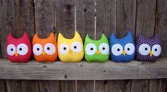 mini owl plush stuffed owl rainbow set of 6 par HeartFeltbyTelah