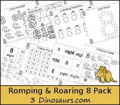 {FREE} Romping & Roaring Number 8 Pack - - coloring pages, playdough mats, counting, tracing and more 39 pages great for ages 3 to 6 or 7 - It has a dinosaur theme- 3Dinosaurs.com