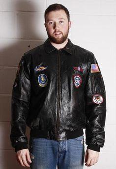 Vintage Alpha Industries Patchwork Leather Flight Jacket