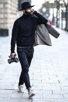 Black hat!  manstyle Street Fashion a5dc5229358