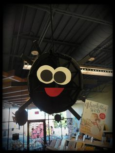 Super-fun spider-riffic all-over Halloween display at the Children's Library!