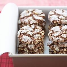Hazelnut Chewies Recipe - Cook's Country (how to bake cookies flat cakes) Best Holiday Cookies, Holiday Cookie Recipes, Cookie Desserts, Holiday Baking, Christmas Baking, Just Desserts, Dessert Recipes, Christmas Cookies, Chewies Recipe