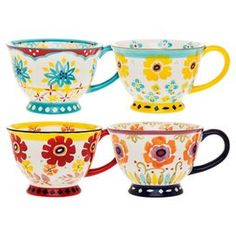 "Set of four mugs with floral motifs.   Product: Set of 4 mugsConstruction Material:  StonewareColor: MultiDimensions: 6"" H x 4.5"" W x 3.2"" D eachCleaning and Care:  Dishwasher and microwave safe"