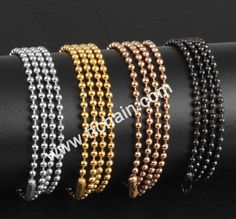 Ball chain with connector,silver color,gold color,copper color and black color necklace #ballchain #beadchain #militarydogtagballchain #militaryballchain #stainlessteelballchain #ballchainnecklace #ballchainspool #beadchainspool  #tfchain #2.4mmballchain #2.0mmballchain Dog Tags Military, Military Ball, Copper Color, Silver Color, Mens Gold Jewelry, Ball Chain, Different Colors, Bangles, Metal