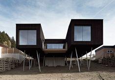 HPSA perches house S on stilts as lookout over austrian mountains - designboom | architecture & design magazine