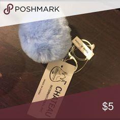 Fur ball keychain Baby blue Accessories Key & Card Holders