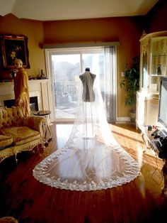 Wedding Veil - Martha ♤ Made by Import Alencon Lace   Made in Canada bridal  Illusion ba9dd5afb342