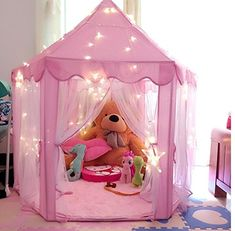 """Kids Indoor Princess Castle Play Tents,Outdoor Large Playhouse With Led Lights,Perfect Outdoor Child Toys - 55""""x 53""""(DxH): Toys & Games"""