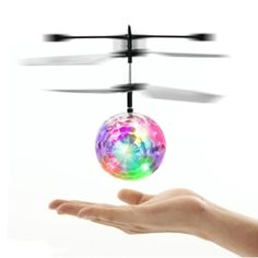 A flying ball filled with colorful LED lights.