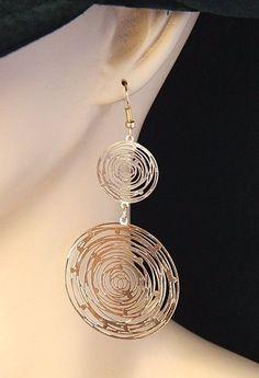 "Abstract Geometric Circle Statement Earrings Laser Cut Gold Tone 3.5"" #DropDangle"
