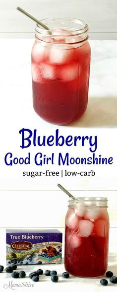 Quick and easy to make this Blueberry Good Girl Moonshine is so tasty and good for you! THM All-Day Sipper, Sugar-free, Low-carb