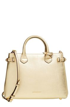 Burberry 'Medium Banner' House Check Metallic Leather Tote available at #Nordstrom