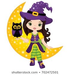 Vector cute little witch with owl sitting on the Moon. Halloween witch and owl vector illustration Halloween Rocks, Halloween Projects, Happy Halloween, Halloween Party, Halloween Poster, Halloween Clipart, Monster High Halloween, Witch Clipart, Halloween Decorations For Kids