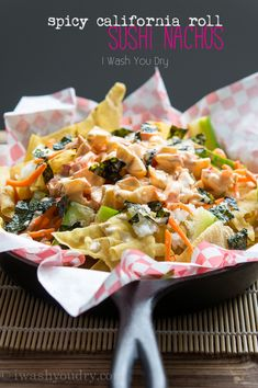 Spicy California Roll Sushi Nachos -- who's going to make these for me? #nachos #asian #sushi via @Shawn {I Wash You Dry}