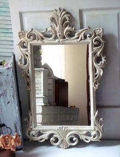 Antique White Vintage Ornate Mirror Off Large Hollywood Regency Light Cream Distressed Bathroom Shabby Chic