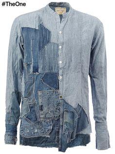 Shop the latest men's designer Clothing at Farfetch now. Love Jeans, Jeans Style, Hipster Fashion, Denim Fashion, Blue Denim Shirt, Denim Patchwork, Look Cool, Casual Shirts For Men, Shirt Designs
