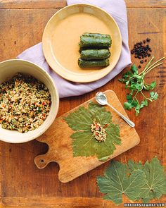 Dolmades can be made a day ini advance and refrigerated; serve chilled or bring to room temperature.Return to Healthy Greek Menu. Dolmades Recipe, Greek Recipes, Vegan Recipes, Greek Menu, Eat Greek, Stuffed Grape Leaves, Mediterranean Diet Recipes, The Best, Tapas