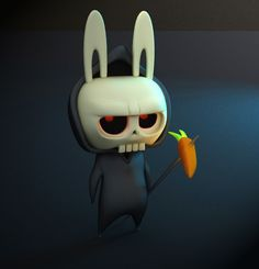 Death Bunny by gus santome, paper, illustration and artist. 3d Character, Character Concept, Concept Art, Character Design, Vinyl Toys, Vinyl Art, Zbrush, 3d Figures, Modelos 3d