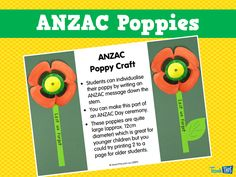 This craft activity allows students to create their own poppies for ANZAC Day. Personal messages can be written along the stem of the poppy and perhaps even included in the ANZAC Ceremony. Anzac Poppy, Poppy Craft, Anzac Day, Classroom Games, Craft Activities, Teacher Resources, Poppies, Messages, Writing