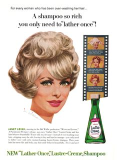 1963 Advertisement for Lather Once Shampoo with Janet Leigh