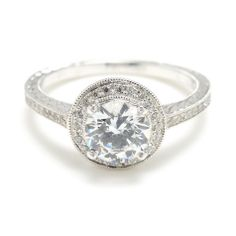 Round Solitaire Diamond Engagement Rings Halo  anillos boda