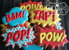 Super Hero Super Hero Burst Cookies - Delivery Food - Ideas of Delivery Food - Ethan approved Superhero Cookies, Superhero Cake, Superhero Birthday Party, 6th Birthday Parties, 3rd Birthday, Batman Party, Super Hero Birthday, Birthday Ideas, Anniversaire Wonder Woman