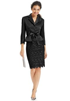Love the Tahari ASL Belted Jacket & Lace Skirt Suit on Wantering. Lace Skirt Outfits, Suits For Women, Clothes For Women, Ladies Suits, Homecoming Outfits, Business Attire, Business Chic, Dress Suits, Skirt Suits
