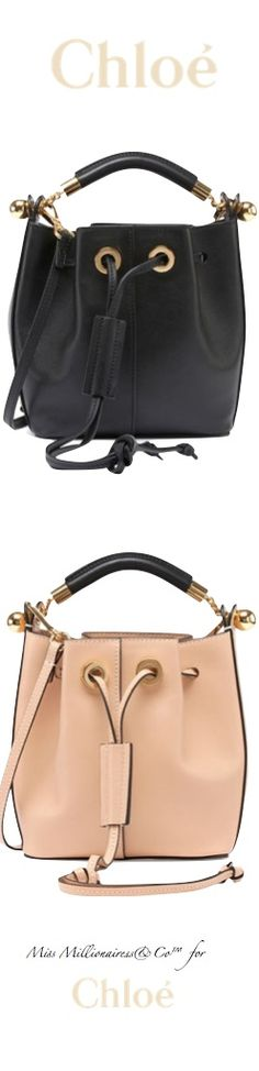 Chloe 2015 - Top Handle Bucket Bags With Drawstring Closure in Black and Nude - Accessories Show™