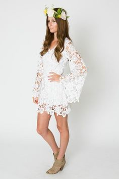 Crochet Lace Short Boho Beach Wedding Dress White Rustic Vintage READ DETAILS