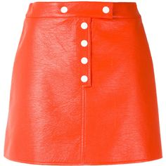 Courrèges buttoned mini-skirt (£466) ❤ liked on Polyvore featuring skirts, mini skirts, bottoms, red, button skirt, mini skirt, short miniskirt, red skirt and short skirts