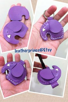 Leather Keychain  Laura the Elephant Leather by leatherprince, $18.90