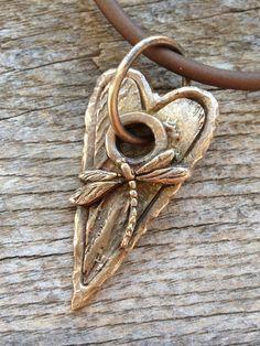 Bronze Dragonfly Heart Pendant by cristinaleonard on Etsy