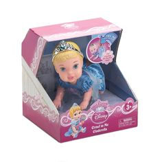 Your little princess will love playing with this adorable Cinderella doll. Press the button and she'll crawl across the floor for tons of playtime fun. She's dressed in a pretty blue dress and wears a silvery tiara with a blue heart.