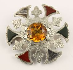 Antique Victorian dated 1873 silver Scottish agate Cairngorm citrine brooch pin