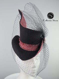 'Well Suited' by Catherine Storm Millinery. A two thirds size top hat with an open crown. Selected for 2020 London Hat Week Exhibition Fascinator, Headpiece, Spring Racing, Crochet Hats, Crown, London, Top, Color, Fashion