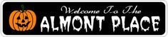 ALMONT PLACE Lastname Halloween Sign - Welcome to Scary Decor, Autumn, Aluminum - 4 x 18 Inches by The Lizton Sign Shop. $12.99. Rounded Corners. 4 x 18 Inches. Predrillied for Hanging. Great Gift Idea. Aluminum Brand New Sign. ALMONT PLACE Lastname Halloween Sign - Welcome to Scary Decor, Autumn, Aluminum 4 x 18 Inches - Aluminum personalized brand new sign for your Autumn and Halloween Decor. Made of aluminum and high quality lettering and graphics. Made to last for years outd...