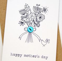 Happy mother's day button box card from Hummingbird Cards Birthday Card Drawing, Birthday Cards, Mothers Day Crafts, Happy Mothers Day, Hand Drawn Cards, Karten Diy, Button Cards, Card Companies, Flower Cards