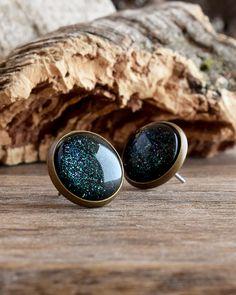Dark green holographic stud earrings, Forest green post earrings, Fir green earrings, Emerald sparkling earrings, Glass dome earrings SJ 090